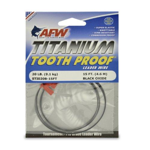 American - Alambre de titanio para pesca a prueba de dientes, Negro, 15 Feet, 20 Pound Test