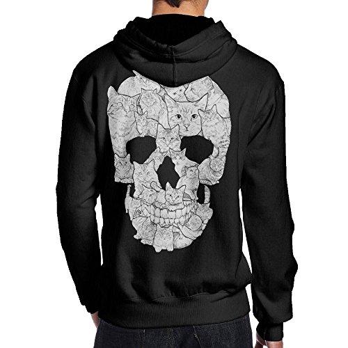 男 後ろ印刷 パーカー スウェットシャツ スケッチ 猫 頭蓋骨 今季最新 登山 プルオーバー ファッション フード付き プルオーバーパーBlack