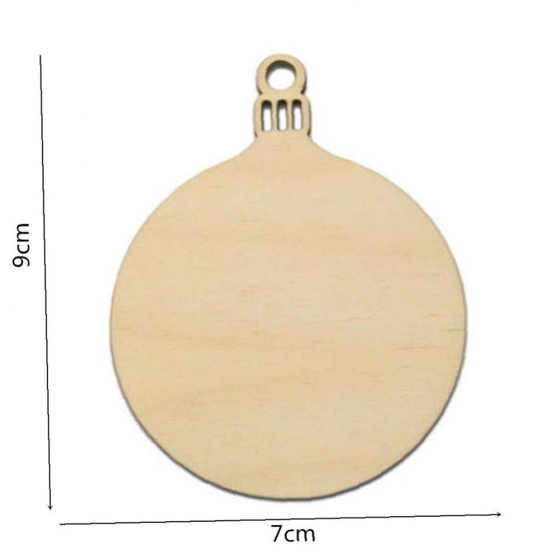 AMOYER Naturale Cippato di Legno Tag Palle di Natale Decor Art Mestieri Ornamenti Fai da Te Scrapbooking