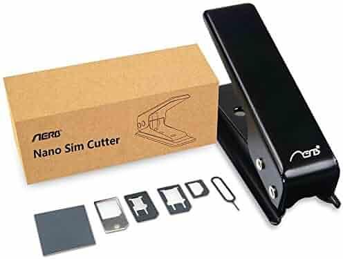 Aerb Sim Card Cutter with Nano-Micro, Nano-Standard, Micro-Standard Sim Adapters for Cellphones, Black