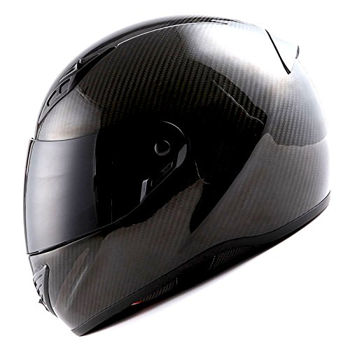 Snell Dot - MARS Genuine Carbon Fiber Motorcycle Street Bike Full Face Helmet Black, (3.3 lb) SNELL M2015 DOT Approved