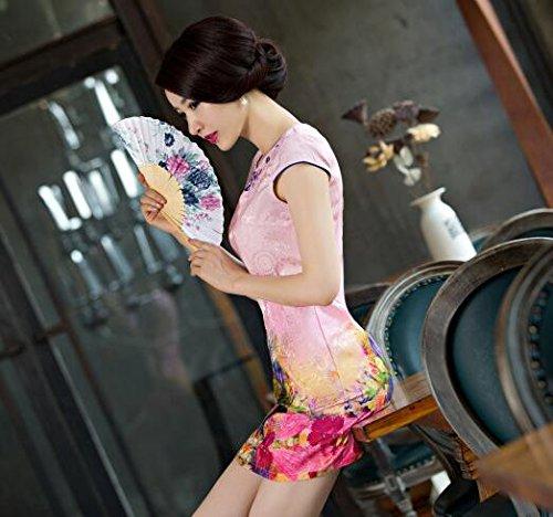 Mini Lora Cheongsam Cinese Donne Abito Partito Aro Ricamo Delle Tradizionale Rosa OHSwxqIZq