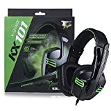 iRainy Stereo PC Gaming Headset Amplified Stereo Sound, 3.5mm Over-ear Headphones With Noise Cancelling and Volume Control, Adjustable Mic, Remote For PC, Laptops, Mobile Computer Games (KX-101-Black)