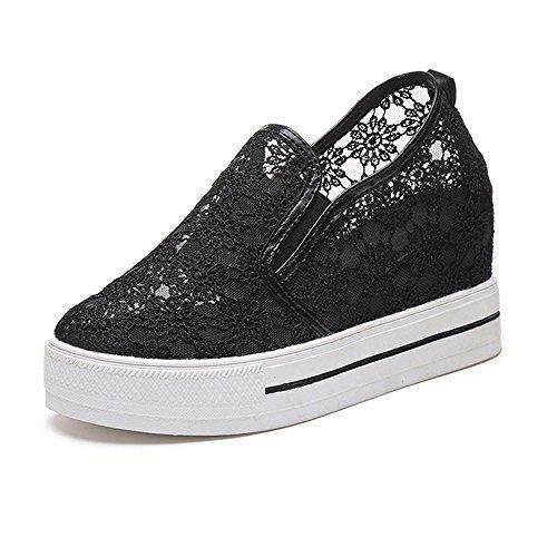 Zapatos de la plataforma de las mujeres con el cordón,Zapatos de vestir brogues Mujer negro