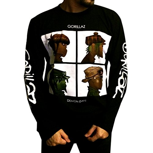 Jigg And Roll Men's Gorillaz T-Shirt Long Sleeve Large Black