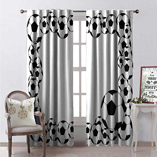 Hengshu Soccer Window Curtain Fabric Monochrome Football Frame Pattern Abstract Illustration Playing Sports Game Drapes for Living Room W96 x L84 White Charcoal Grey