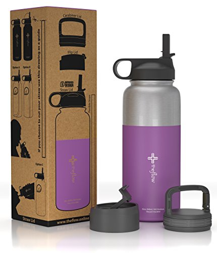 The Flow Stainless Steel Water Bottle, Double Walled/Vacuum Insulated - BPA/Toxin Free – Wide Mouth with Straw Lid (Stainless Purple)