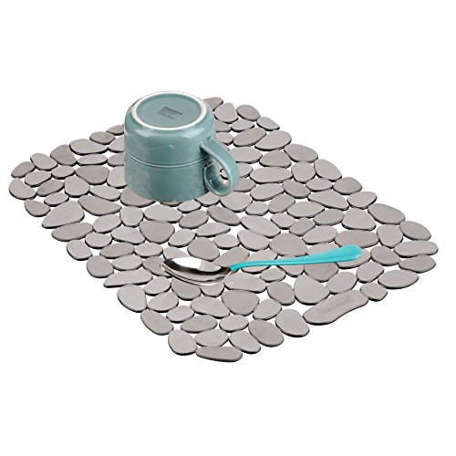 iDesign Pebblz Large Plastic Sink Grid, Non-Skid Dish Protector Mat for Kitchen, Bathroom, Basement, Garage, 12 x 15.5, Gray