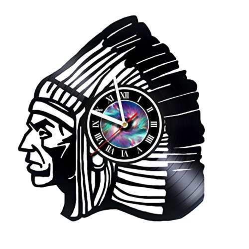 Native Americans Indian - Wall Clock Made Of Vinyl Record - Handmade - Home Decor -Original Gift Idea for Birthday Wedding Anniversary Christmas For Friends Men Women Girls Boys Teens & Everyone (Wedding Gift Ideas For Best Friend Female Indian)