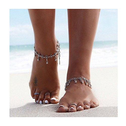 Barogirl Yoga Anklet Silver Bracelet Vintage Beach Foot Chain Beaded Ankle Bracelet for Women and Girls by Barogirl