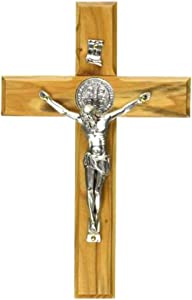 Holy Land Market Saint Benedict Wall Crucifix Handmade Silver Tone Corpus (10 Inches)