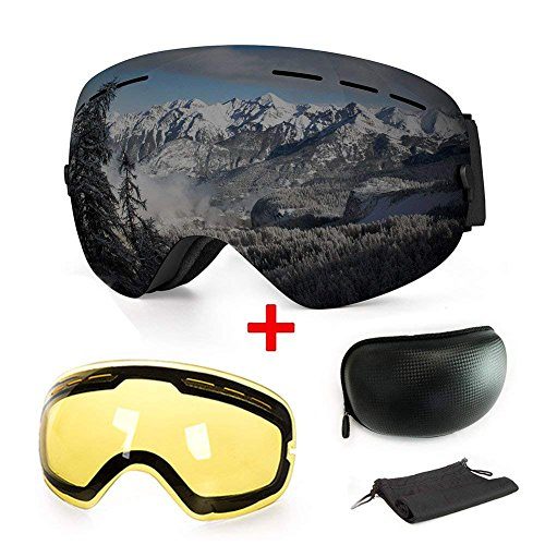 【2019New】Ski Goggles, Anti-Fog UV Protection Winter Snow Sports Snowboard Goggles with Interchangeable Spherical Dual Lens for Men Women & Youth Snowmobile Skiing Skating