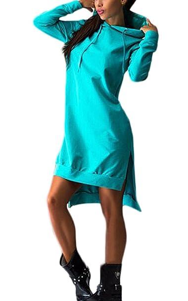 Laisla fashion Mujer Vestidos Sudaderas con Capucha Largos Elegantes Casual Deportivas Lindo Chic Sudadera Otoño Invierno Manga Larga Irregular Color Sólido ...