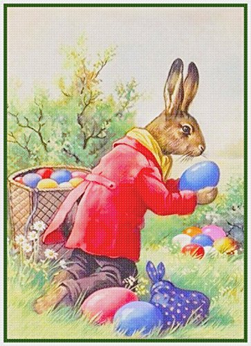 Vintage Easter Bunny Hiding Eggs Counted Cross Stitch Pattern