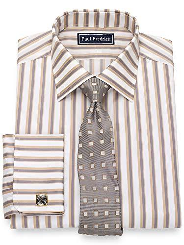 Paul Fredrick Men's Cotton Satin Stripe French Cuff Dress Shirt Grey/tan 17.5/36 (Satin Stripe Dress Shirt)