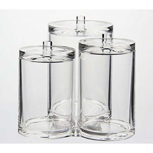 iLory 3pc Clear Acrylic Cotton Ball & Swab Holder Organizer Makeup Cosmetics Pads Q-tip Storage Container Box Case by iLory (Image #1)