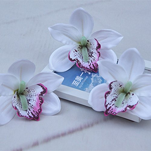 xuanL 10pcs Artificial Orchids Flower Silk Real Touch Cymbidium for Hats Clothes ()