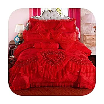 Image of Home and Kitchen Akenago11 4/6/9 Pcs Red Pink Jacquard Silk Cotton Luxury Wedding Bedding Set King Size Queen Bed Set Lace Duvet Cover Bed Sheet Pillowcas-1-Queen Size 9Pcs