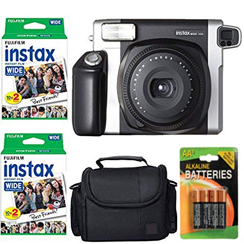 Fujifilm INSTAX 300 Photo Instant Camera With Fujifilm Instax Wide Instant Film Twin Pack Instant Film (40 Shots) + Camera Case With Photo4less Microfiber Cleaning Cloth- Accessory Bundle (Best Polaroid Camera Of All Time)