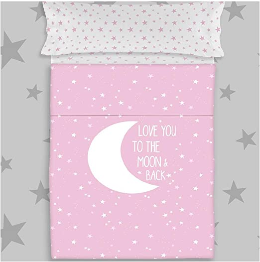 COTTON ARTean Juego de sabanas Infantil/Juvenil Moon Pink Cama de 105 x 190/200. 100% ALGODÓN.: Amazon.es: Hogar