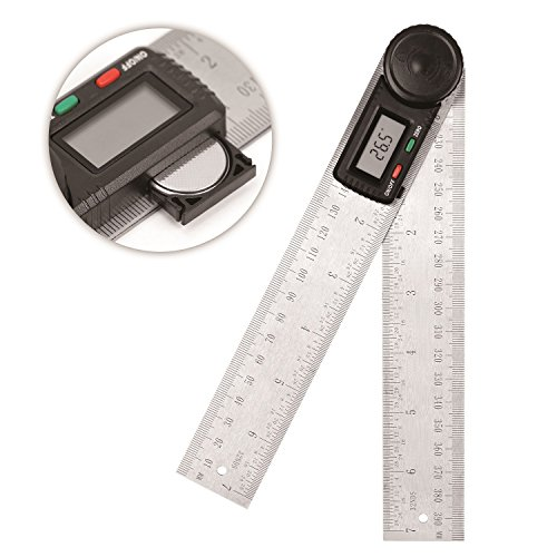 HORUSDY Digital Angle Finder Ruler,7- Inch Digital Protractor (200mm Stainless Steel Angle Gauge)