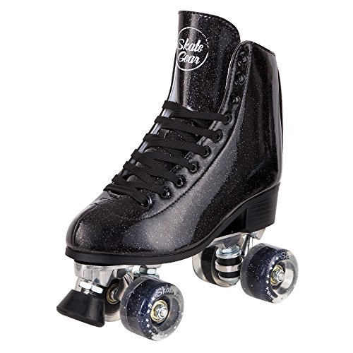 Cal 7 Sparkly Roller Skates for Indoor & Outdoor Skating, Faux Leather Quad Skate with Ankle Support & 83A PU Wheels for Kids & Adults (Black, Youth 5 / Women's 6) by Cal 7