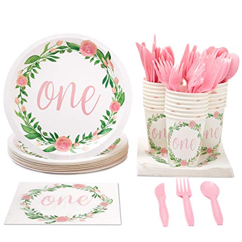 (Juvale Disposable Dinnerware Set - Serves 24-1st Birthday Party Supplies for Kids Birthdays, Floral Design - Includes Plastic Knives, Spoons, Forks, Paper Plates, Napkins,)