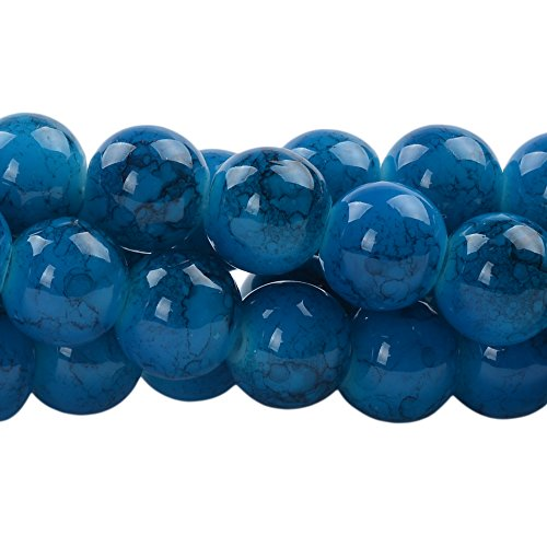 RUBYCA 8mm 2 Strands Czech Glass Round Beads Blue Painted Colored String for Jewelry Making