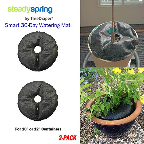 SteadySpring Smart Watering Mat for 10 in or 12 in Containers for Annuals, Herbs, Trees, Tomatoes - Self-Filling, Lasts 30 Days, Automatic Irrigation Mat (2) ()
