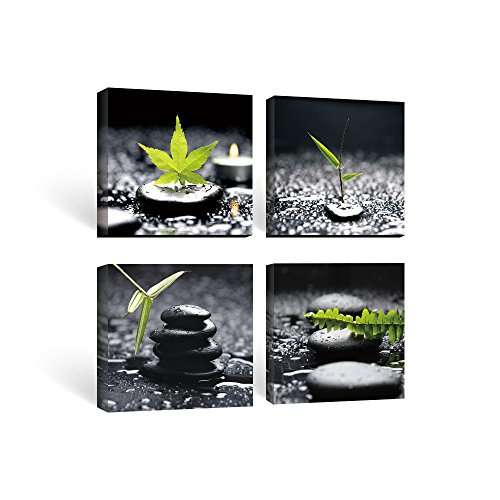 SUMGAR Black and White Wall Art Paintings on Canvas for Bathroom Zen Stone and Green Leaf Pictures, - Wall And White Pictures Black