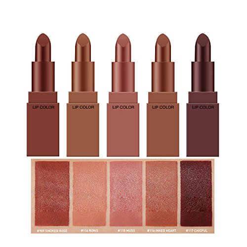 5 PC water proof mini matte lingerie nude brown color lipsticks gift set (5 different colors edition) ()