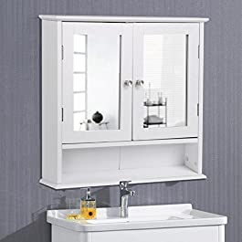 Yaheetech Bathroom Wall Cabinet with Double Mirror Doors and Adjustable Shelf, Wooden Medicine Storage Cabinets Organizer, White
