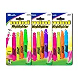 Bazic 2307-24 Mini Fluorescent Highlighter with Cap Clip- Pack of 24