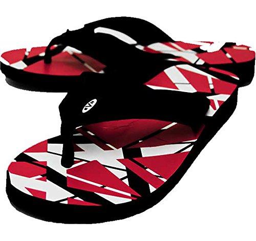 Edward Eddie Van Halen RED Stripes Flip Flops Sandals Shoes (8/9) from Cyberteez