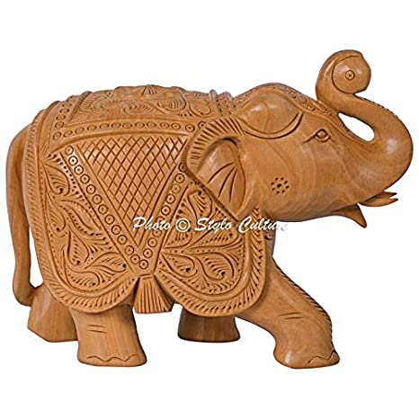 Amazoncom Stylo Culture Indian Small Wooden Elephant Hand Carved