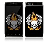Motorola Droid Razr, Razr Maxx Decal Phone Skin Decorative Sticker w/ Matching Wallpaper - Flame Skull