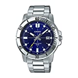 Casio MTP-VD01D-2EV Men's Enticer Stainless Steel Blue Dial Casual Analog Sporty Watch