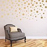 120pcs/package Gold Stickers Wall Confetti Dots Wall Art for Baby Nursery - Mixed Sizes Peel and Stick Decal Mural Home Decor