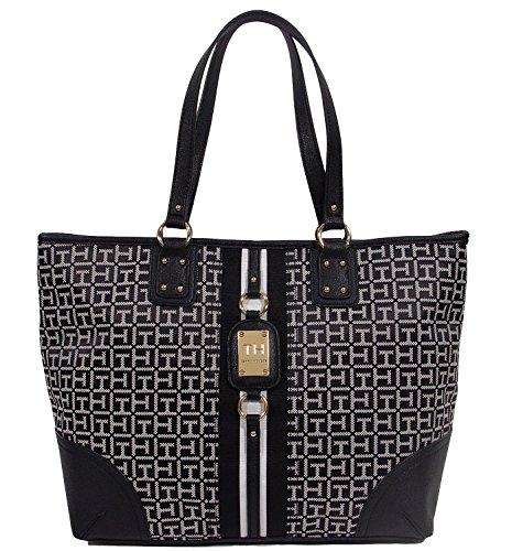 Travel Tommy Handbag Large Tote Purse Hilfiger Bag Black Shopper White Logo RE0xRqr
