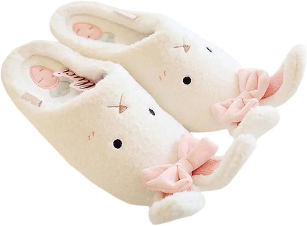 Rains Pan Anti-Slip Plush Animal Bunny Slippers with Ears,Milk White