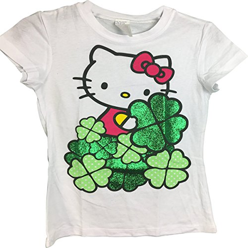 Hello-Kitty-Style-15-4-Leaf-Clovers-Glitter-Girls-T-Shirt-68