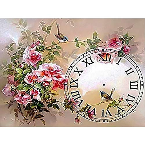 Flower Clock Full Drill Diamond Painting 5D Diamond Painting Embroidery DIY Diamond Painting Kit for Living Room Home Wall Decoration ()