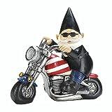 Biker Gnome Solar Garden Statue For Sale