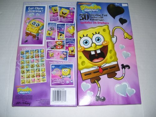 30 Spongebob Embossed Foil Valentines Day Cards With Stickers ()