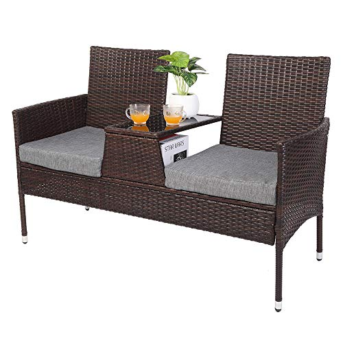 VINGLI Patio Wicker Loveseat Sofa with Removable Cushions and Table, Outdoor Loveseat, Patio Conversation Set Patio Loveseat for Backyard Garden Poolside