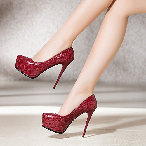 hochhackigen Pumps hochhackigen CN37 Single Farbe Damenschuhe bequeme Fine wasserdichte EU37 flache Schuhe 5 konkrete neue UK4 MUMA 5 Frühling Damen größe Rot xgPq14X