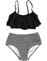 Fashion Women Falbala High-Waisted Bikini Set
