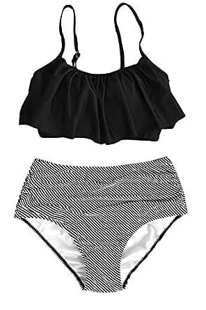 CUPSHE Women's Pure Black Falbala Top Stripe Bottom Halter Padding Bikini Set (S)