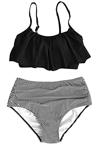 CUPSHE Women's Falbala Design Bikini Set Black (Two Piece Bathing Suits That Cover Your Stomach)