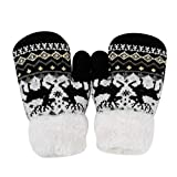 ITODA Kids Boys Fleece Gloves Winter Cold Weather Thicken Thermal Knit Mittens Gloves